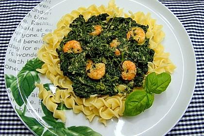 Pasta mit Garnelen in Spinat-Frischkäse-Sauce 1