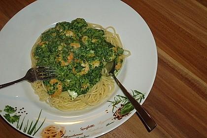 Pasta mit Garnelen in Spinat-Frischkäse-Sauce 2