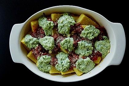 Polenta mit Tomatensauce und Basilikum-Ricotta 1