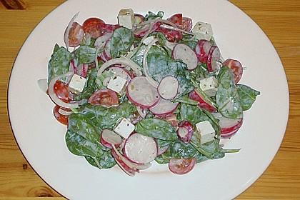 Spinatsalat mit Schafskäse, Radieschen und Tomaten