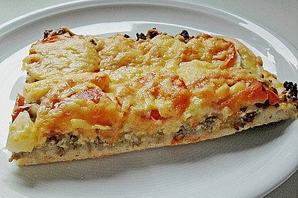 Hackfleisch-Apfel Pizza (Bild)