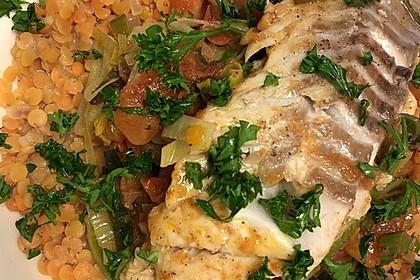 Fisch mit Lauch und Tomaten auf Linsenbett 3