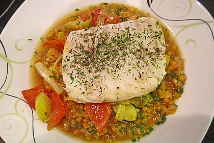 Fisch mit Lauch und Tomaten auf Linsenbett 7