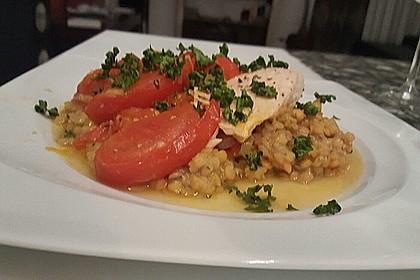 Fisch mit Lauch und Tomaten auf Linsenbett 13