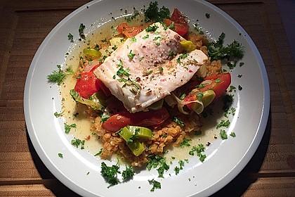 Fisch mit Lauch und Tomaten auf Linsenbett 4