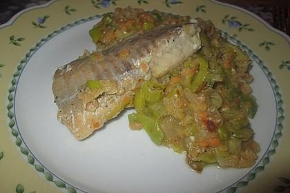 Fisch mit Lauch und Tomaten auf Linsenbett 14