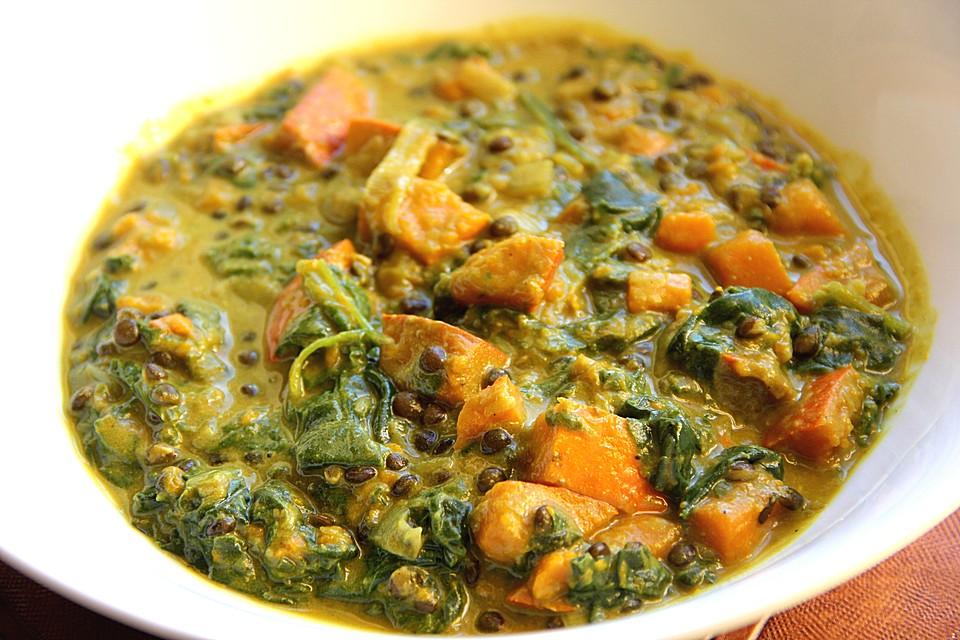 Kürbis-Spinat-Eintopf mit Linsen von vegetaroline | Chefkoch