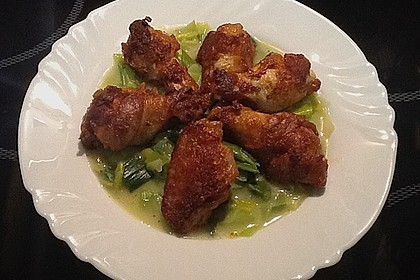 Chicken Wings auf Porree-Kokoscreme Beet