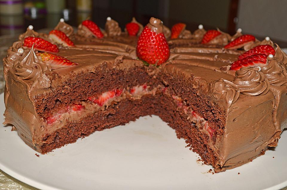 Erdbeer Schokoladen Torte Von Dashonigkuchenpferd Chefkoch De