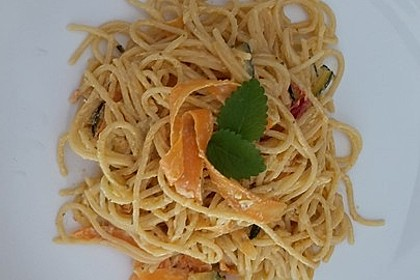Zucchini-Möhren-Nudeln mit einer cremigen Sauce 26