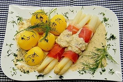 Spargel mit Serranoschinken und Lachs-Meerrettich Sauce 2
