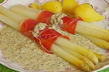 Spargel mit Serranoschinken und Lachs-Meerrettich Sauce 3