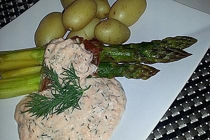 Spargel mit Serranoschinken und Lachs-Meerrettich Sauce 4
