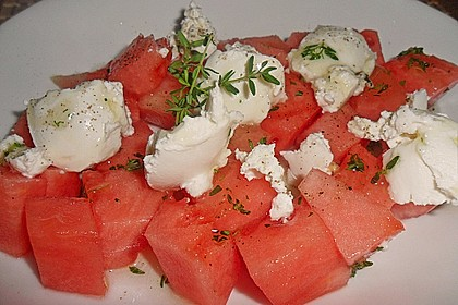 Melonensalat mit Ziegenfrischkäse 1