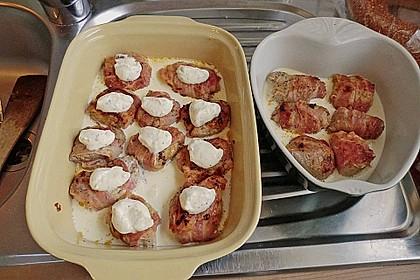 Schweinefilet-Bacon-Honig-Senf-Filets mit frischem Gemüse 2