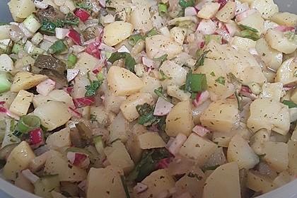 Sommerlicher Kartoffelsalat mit Tomaten und Bundzwiebeln