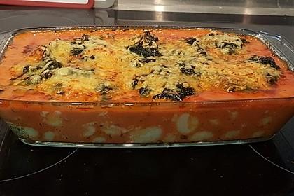 Gnocchi-Auflauf mit Tomatensoße, Gorgonzola und Blattspinat 1