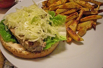Thunfisch Burger mit Pommes 1