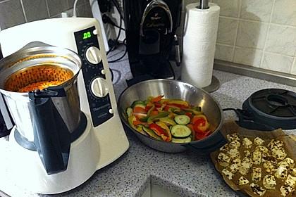 Schafskäse mit Paprika-Tomatengemüse auf Reis aus dem Thermomix 2