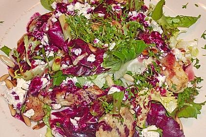 Blattsalate mit Hähnchenstreifen und cremigem Heidelbeerdressing 13