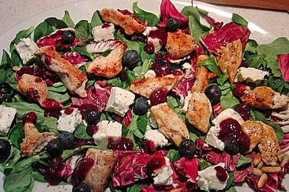 Blattsalate mit Hähnchenstreifen und cremigem Heidelbeerdressing 7