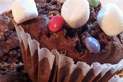 Schokomuffins mit Smarties und Marshmallows 5