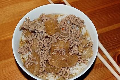 Japanischer gekochter Rettich mit Hackfleisch 1