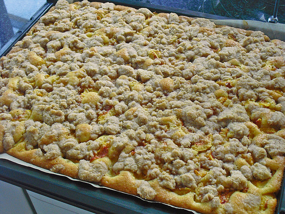 Pfirsich Streusel Kuchen Vom Blech Von Uli68 Chefkoch De