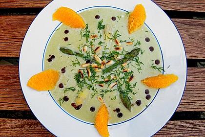 Spargelcremesuppe mit Orangen und Ingwer 1