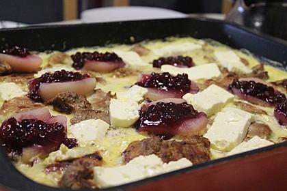 Schweinefilet-Gnocchi-Birnen-Preiselbeer-Brie-Gratin 10