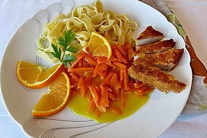 Tagliatelle mit Schnitzelstreifen in Orangen-Sahnesoße