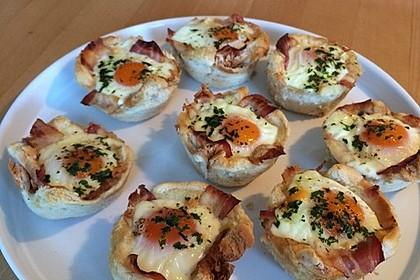 Gebackene Toast-Muffins mit Ei und Speck 23