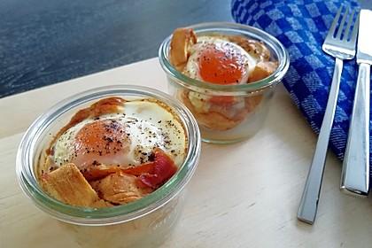 Gebackene Toast-Muffins mit Ei und Speck 9