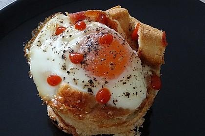Gebackene Toast-Muffins mit Ei und Speck 7