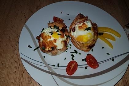 Gebackene Toast-Muffins mit Ei und Speck 16