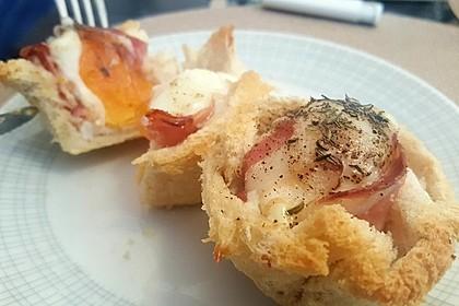 Gebackene Toast-Muffins mit Ei und Speck 29