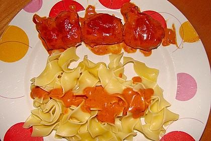 Schweinefilets mit Bacon und Tomatensahnesoße überbacken 16