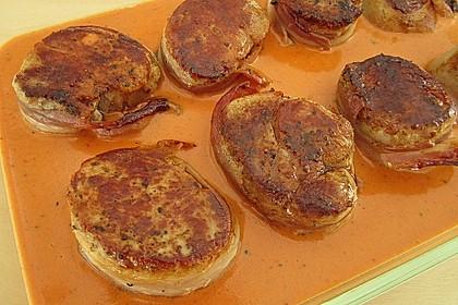 Schweinefilets mit Bacon und Tomatensahnesoße überbacken 6