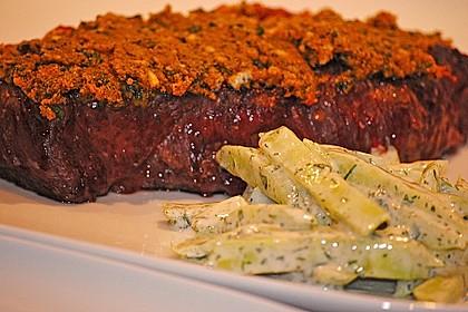 Gratinierte irische Steaks mit Gurkensalat 1