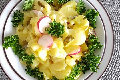 Kartoffel-Radieschen Salat mit Salatgurke und Kräutern 4
