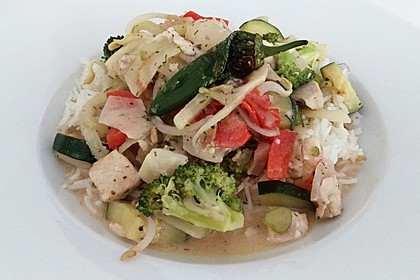 Fisch-Gemüse-Pfanne mit Kokosmilch, Low carb 19