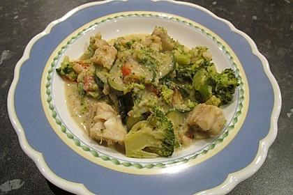 Fisch-Gemüse-Pfanne mit Kokosmilch, Low carb 70