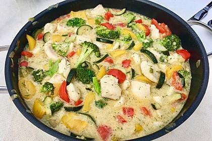Fisch-Gemüse-Pfanne mit Kokosmilch, Low carb 2