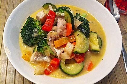 Fisch-Gemüse-Pfanne mit Kokosmilch, Low carb 1