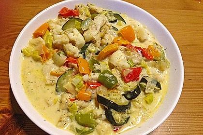 Fisch-Gemüse-Pfanne mit Kokosmilch, Low carb 14