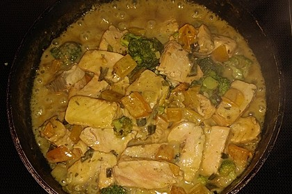 Fisch-Gemüse-Pfanne mit Kokosmilch, Low carb 50