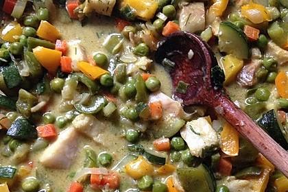 Fisch-Gemüse-Pfanne mit Kokosmilch, Low carb 64