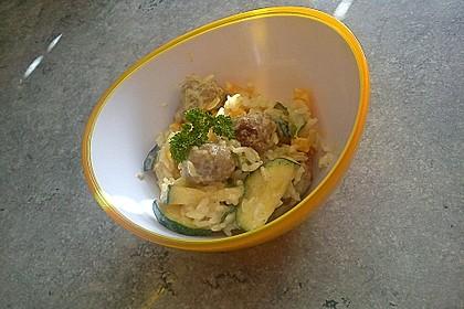Gemüsepfanne mit Bratwurstklößchen 3