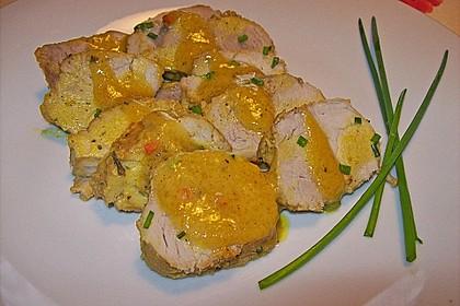 Schweinelende mit Orangen-Senf-Sauce