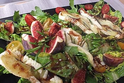 Bunter Salat mit gratiniertem Ziegenkäse, Feigen und einem Balsamico-Schoko-Dressing